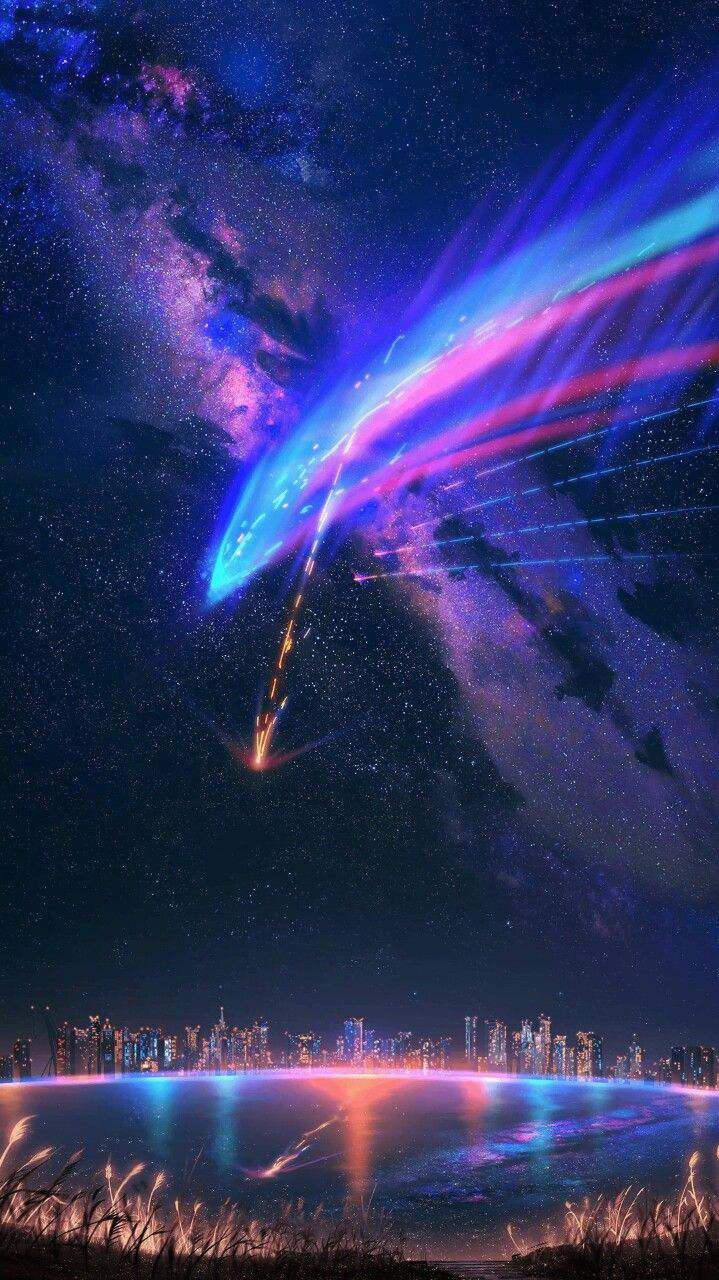 Night Sky Meteor Light iPhone Wallpaper