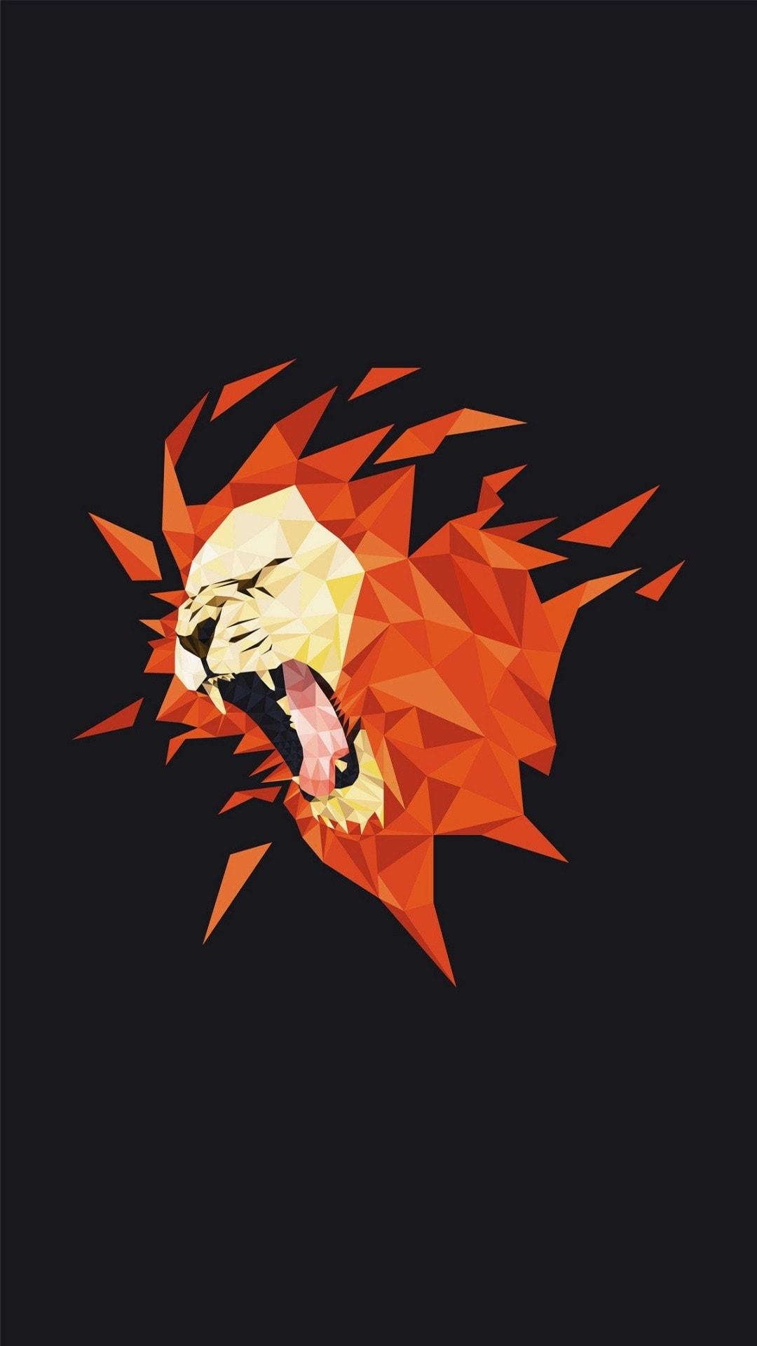 Poligon Lion Art Minimal iPhone Wallpaper