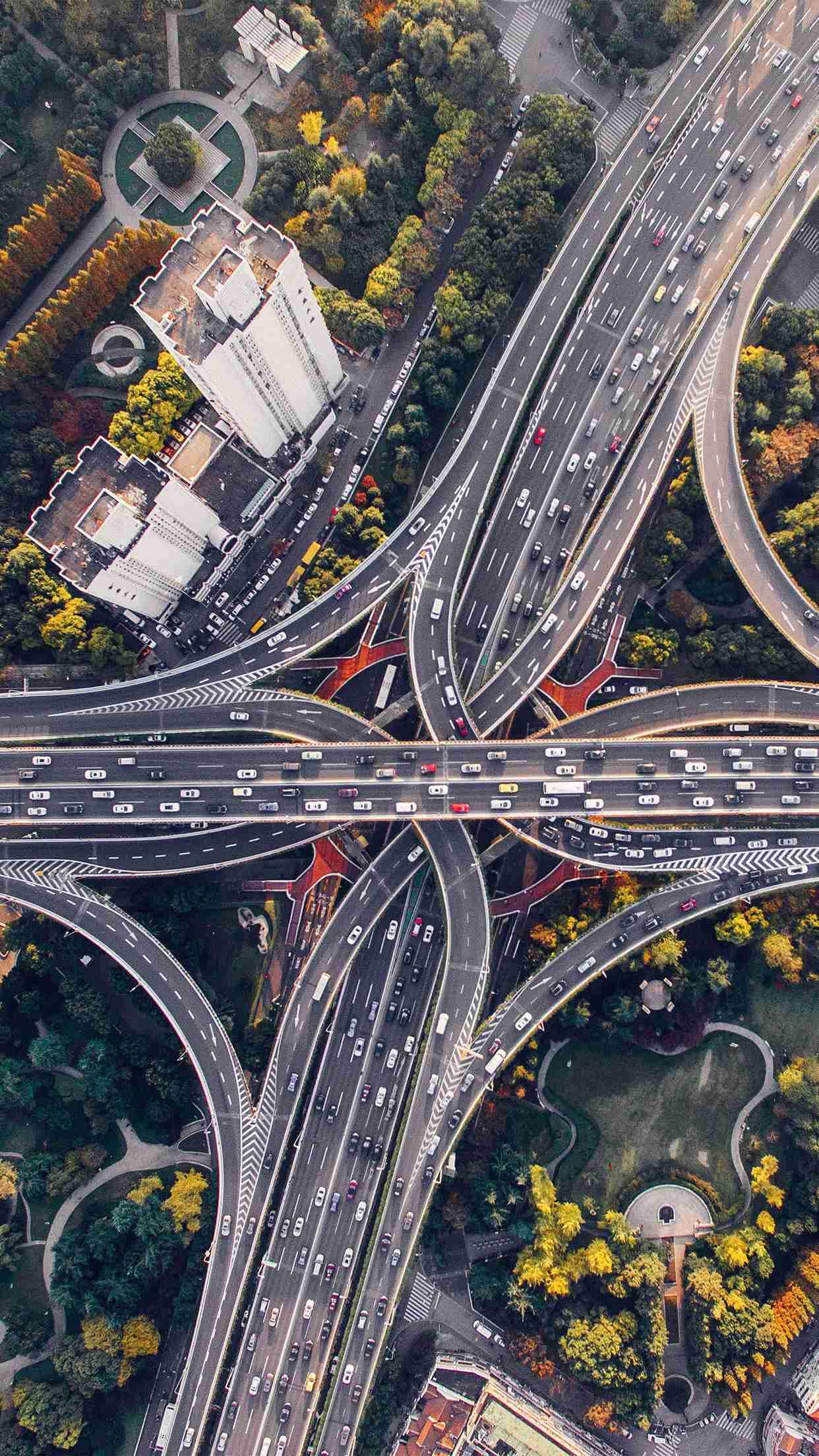 Road Web City Aerial View iPhone Wallpaper