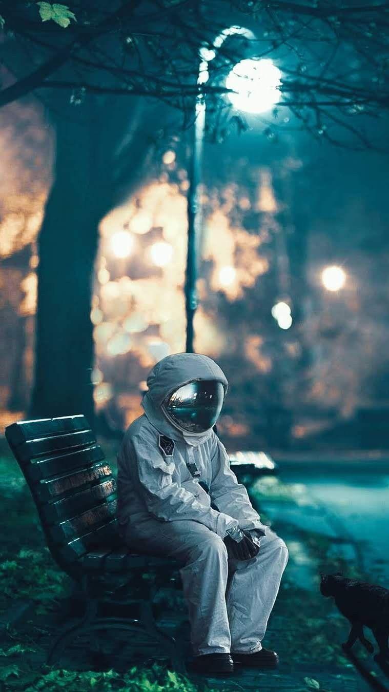 Sad Astronaut iPhone Wallpaper