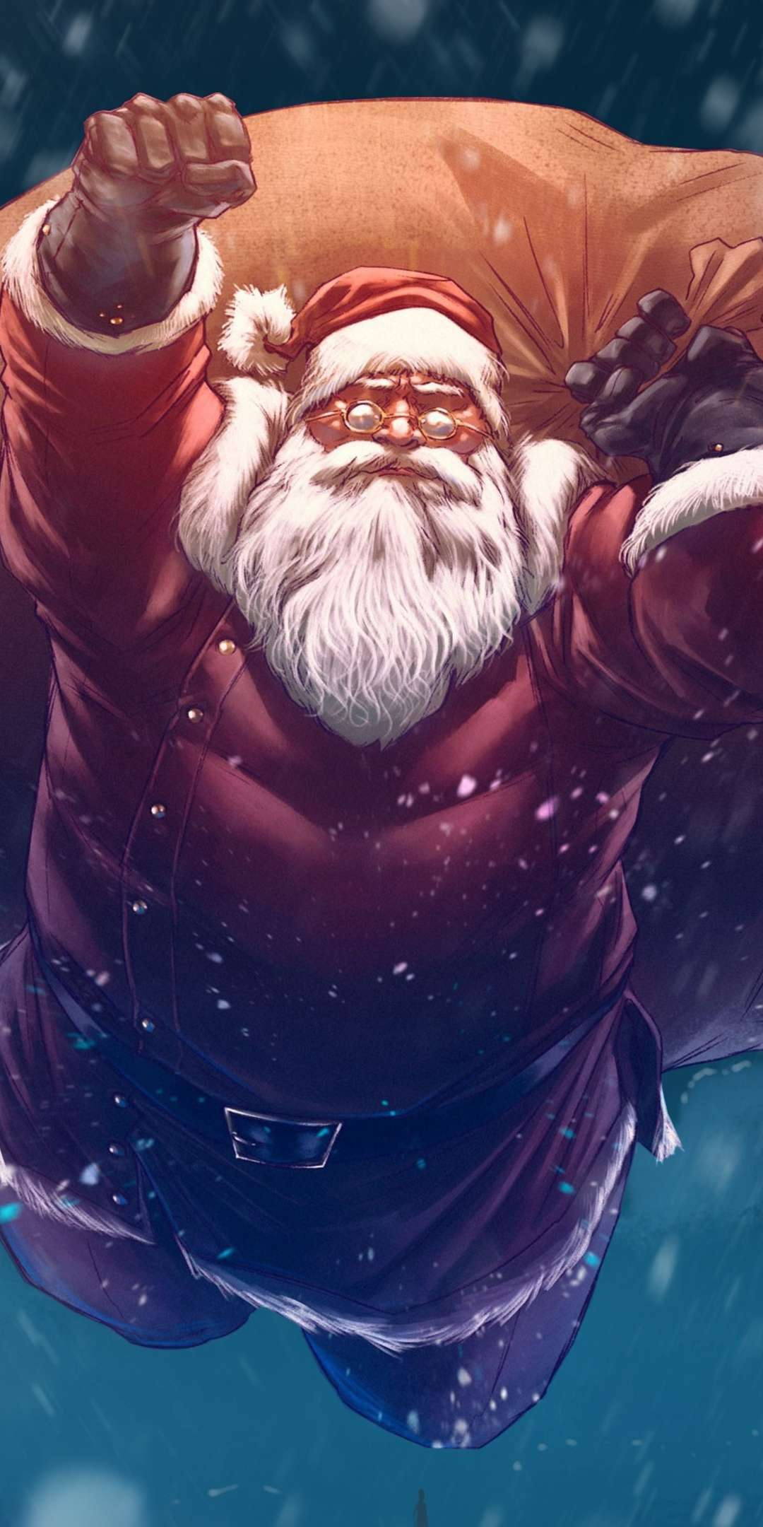 Santa Flying with Gifts iPhone Wallpaper