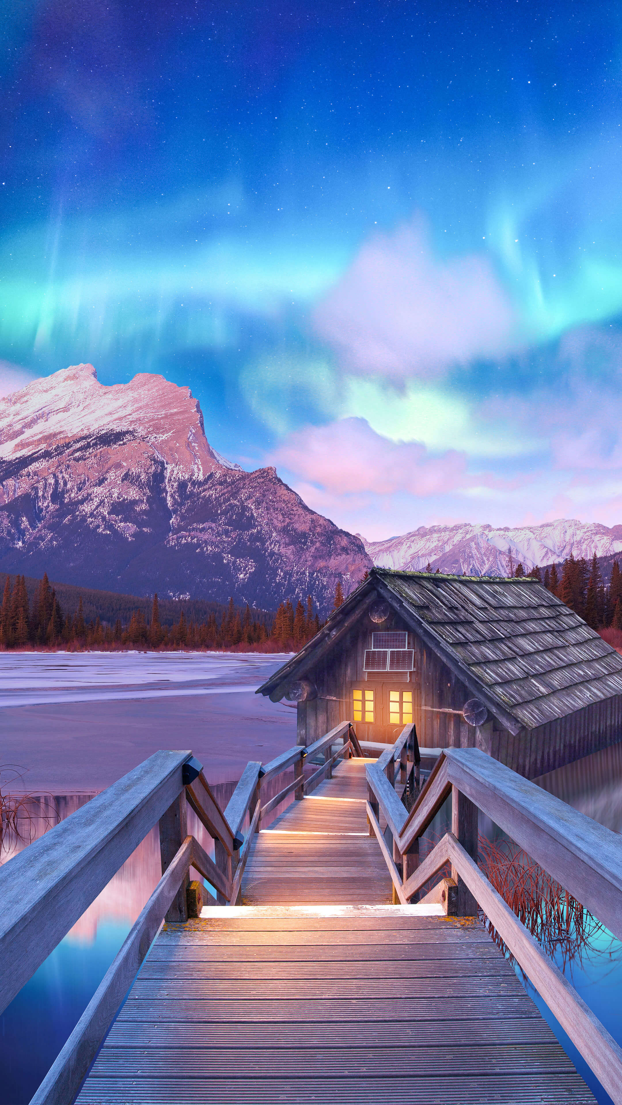 Secret Cottage Winter Nature iPhone Wallpaper