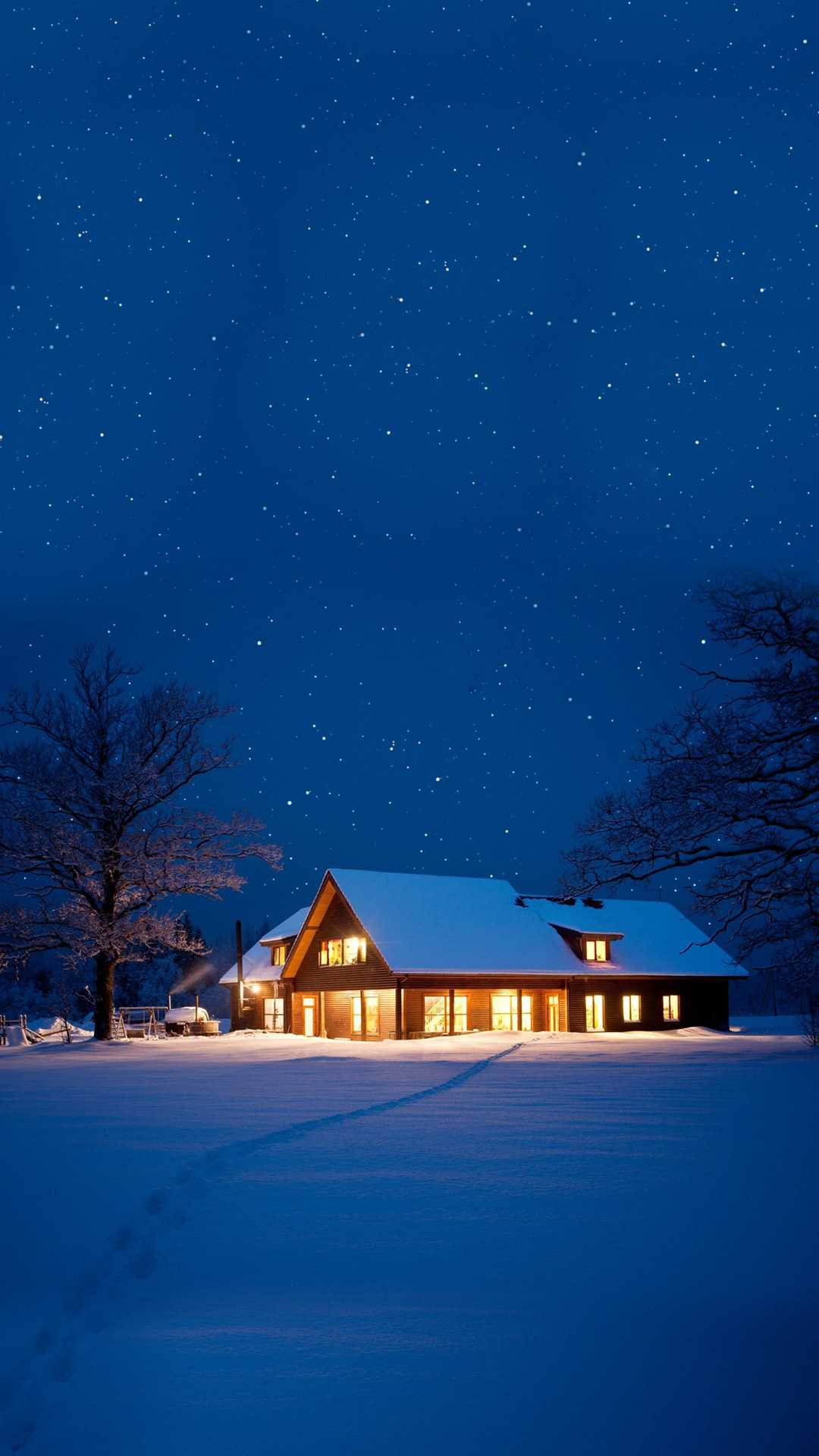 Snow House Christmas Night iPhone Wallpaper