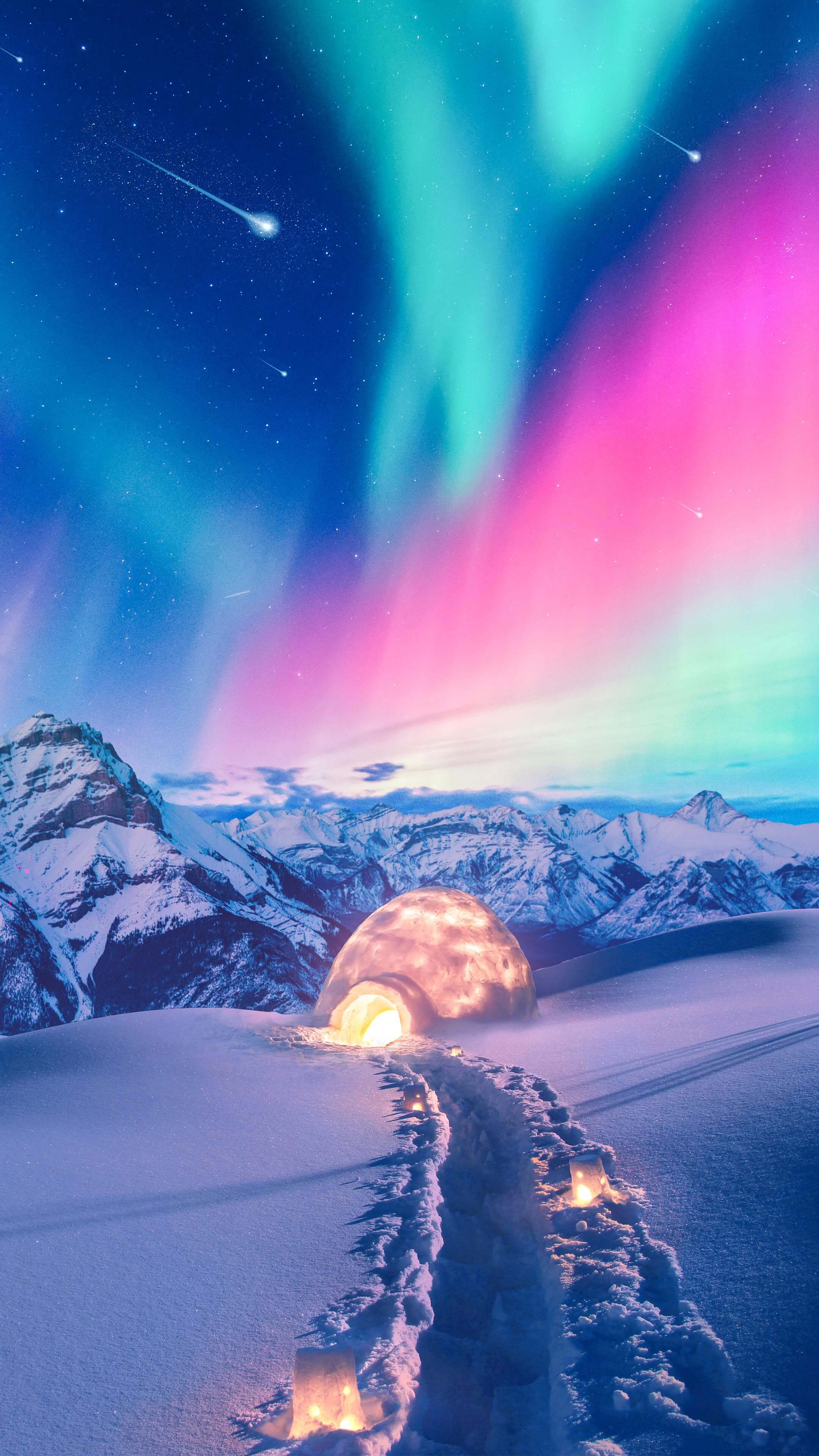 Snow House Nothern Lights iPhone Wallpaper