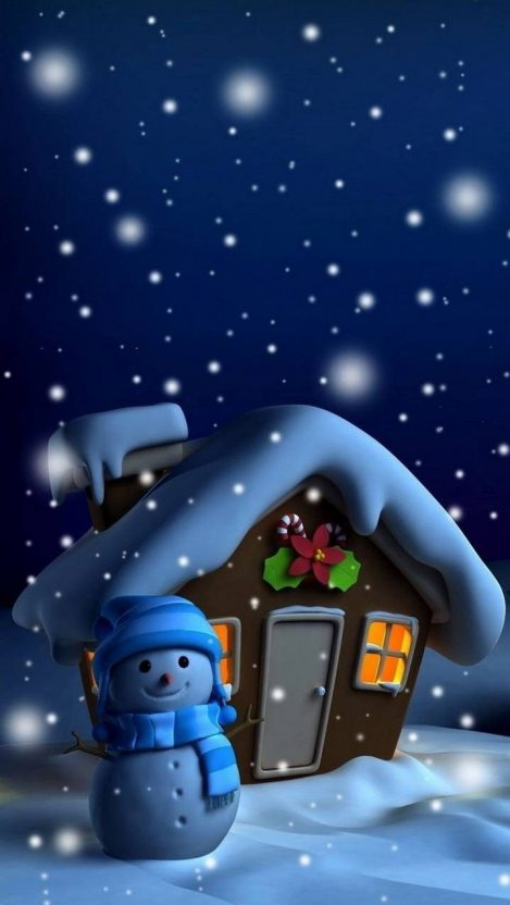 Snow Man House Christmas iPhone Wallpaper
