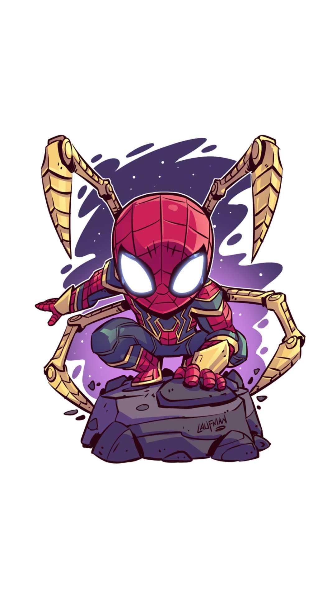 Spider Man Infinity Armor Minimal iPhone Wallpaper