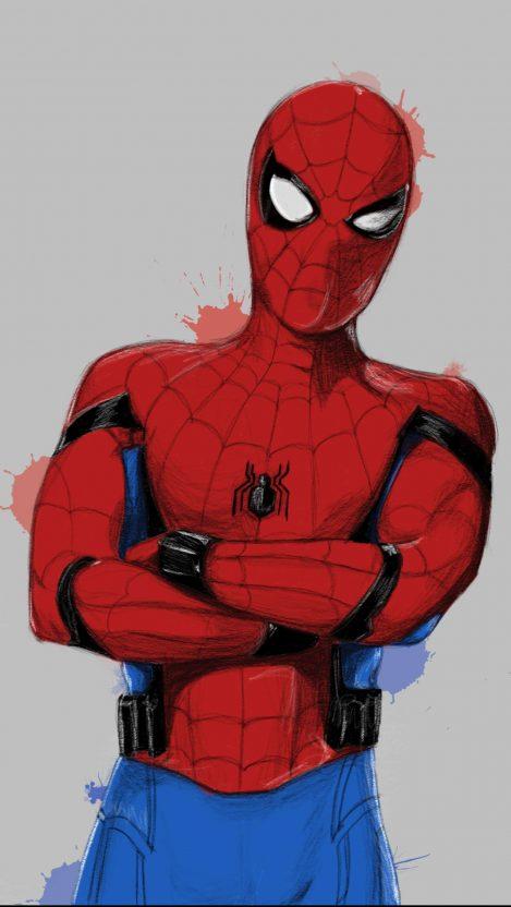Spider Man Paint Art iPhone Wallpaper