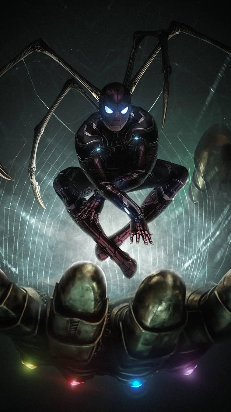 Spider Man vs Thanos Avengers Endgame iPhone Wallpaper