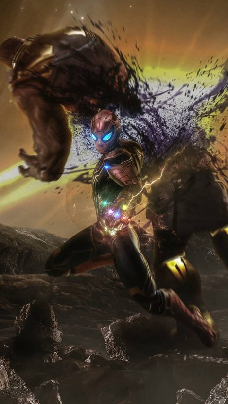 Spider Man vs Thanos Infinity Gauntlet iPhone Wallpaper