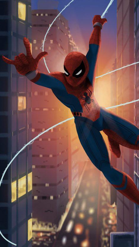 Spiderman Action iPhone Wallpaper