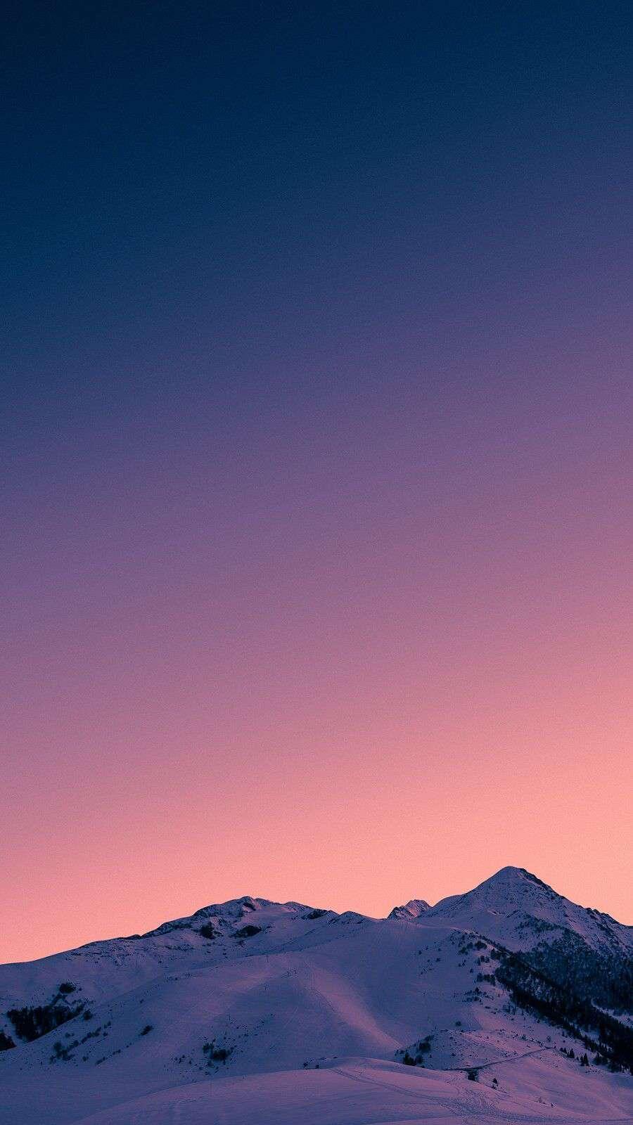 Sunset Snow Mountain Sky View iPhone Wallpaper