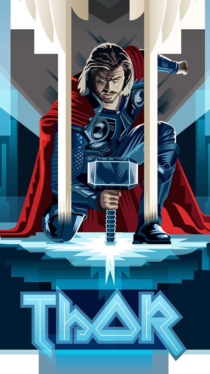 Thor Avengers Art iPhone Wallpaper