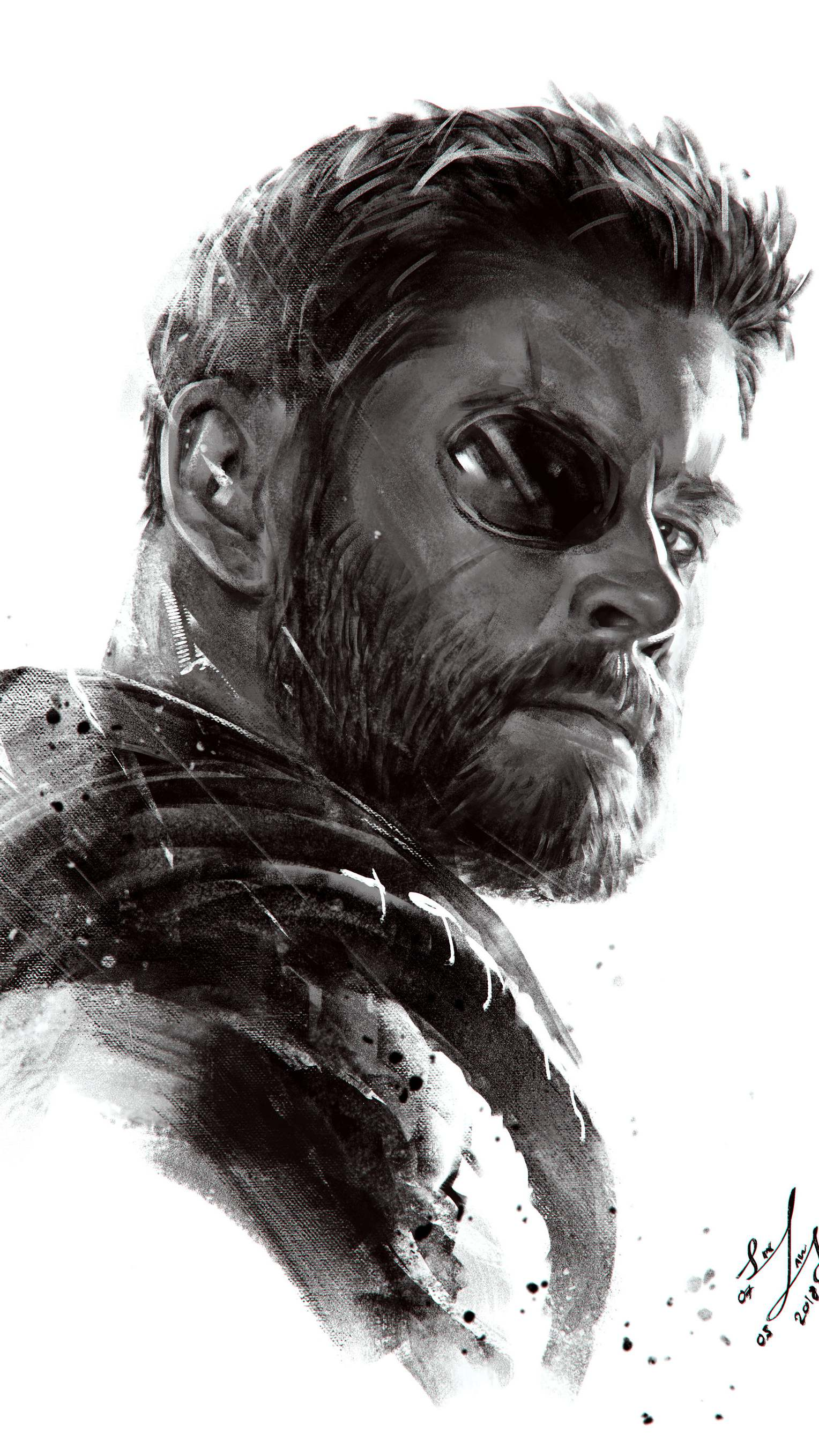 Thor Monochrome Art iPhone Wallpaper - iPhone Wallpapers ...