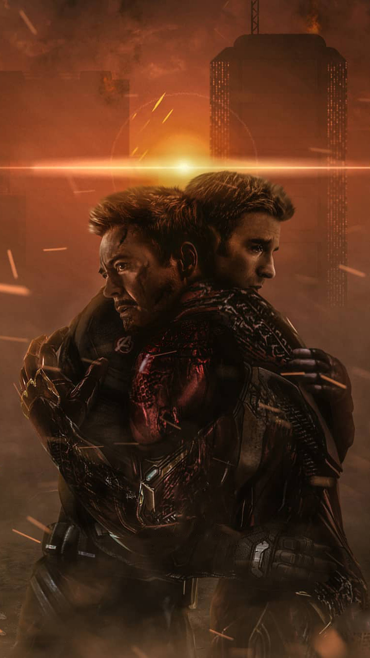 Tony Stark and Captain America Goodbye iPhone Wallpaper
