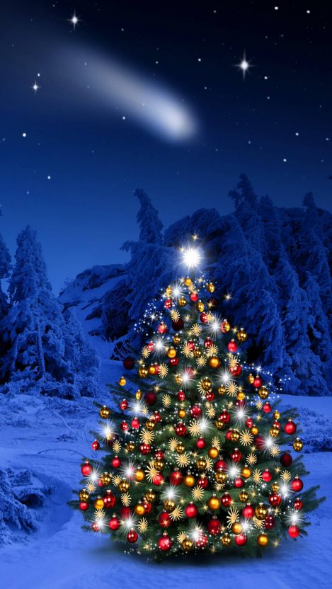 Winter Christmas Tree iPhone Wallpaper