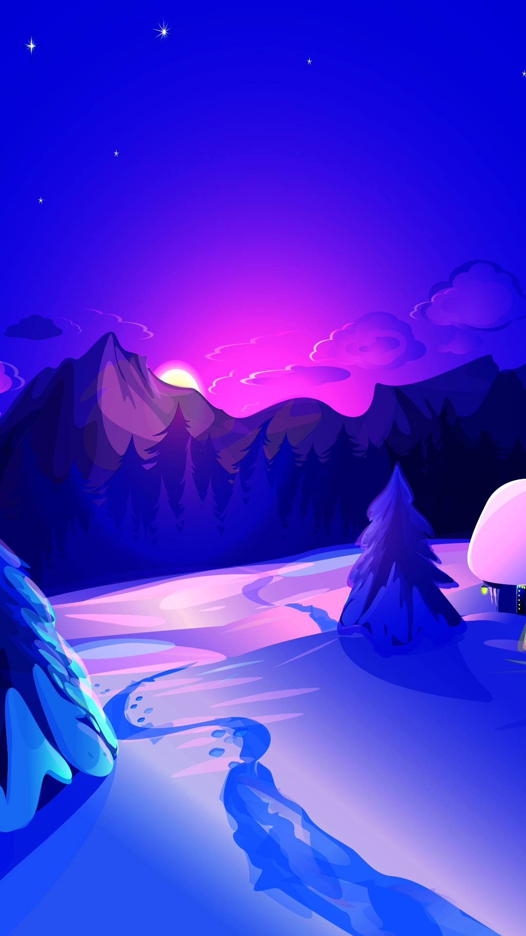 Winter Night Minimal iPhone Wallpaper
