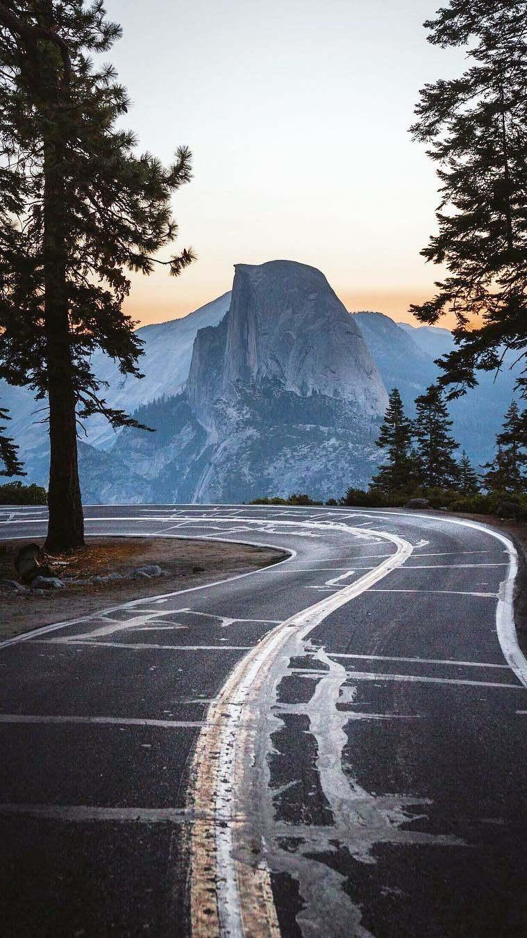 Yosemite Road Morning Nature iPhone Wallpaper