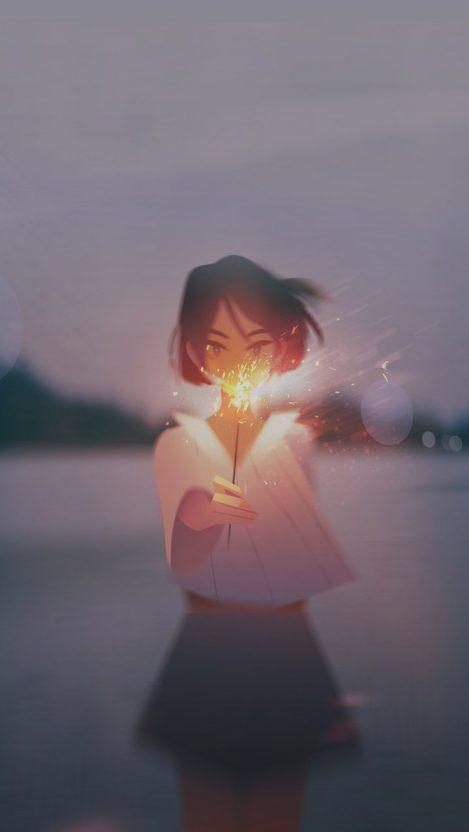 Anime Girl Fireworks iPhone Wallpaper