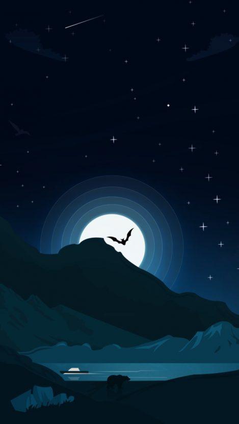 Bat Night Minimal iPhone Wallpaper