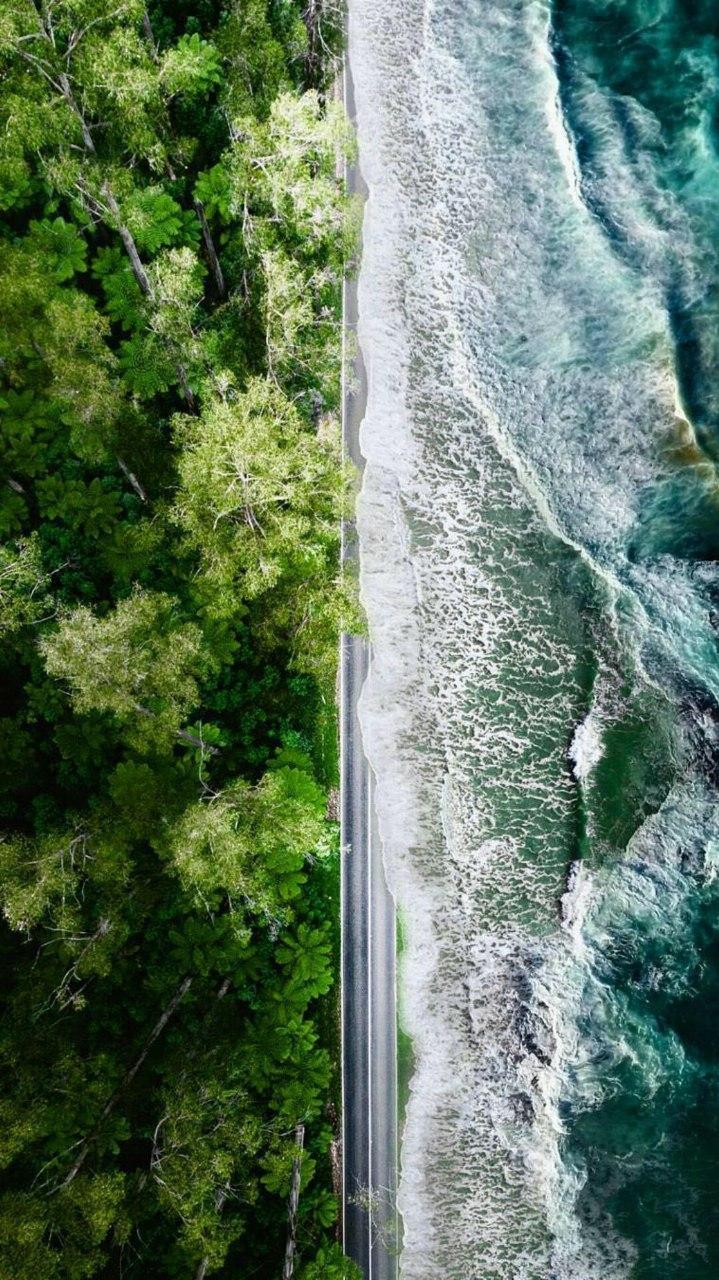 Beach Road Nature Ocean Aerial View iPhone Wallpaper