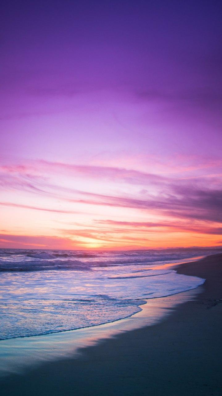 Beach Sea Sunset Clouds Horizon iPhone Wallpaper