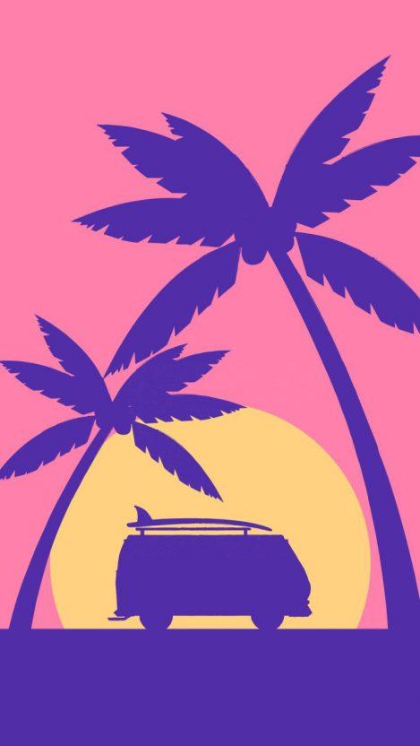 Beach Van iPhone Wallpaper