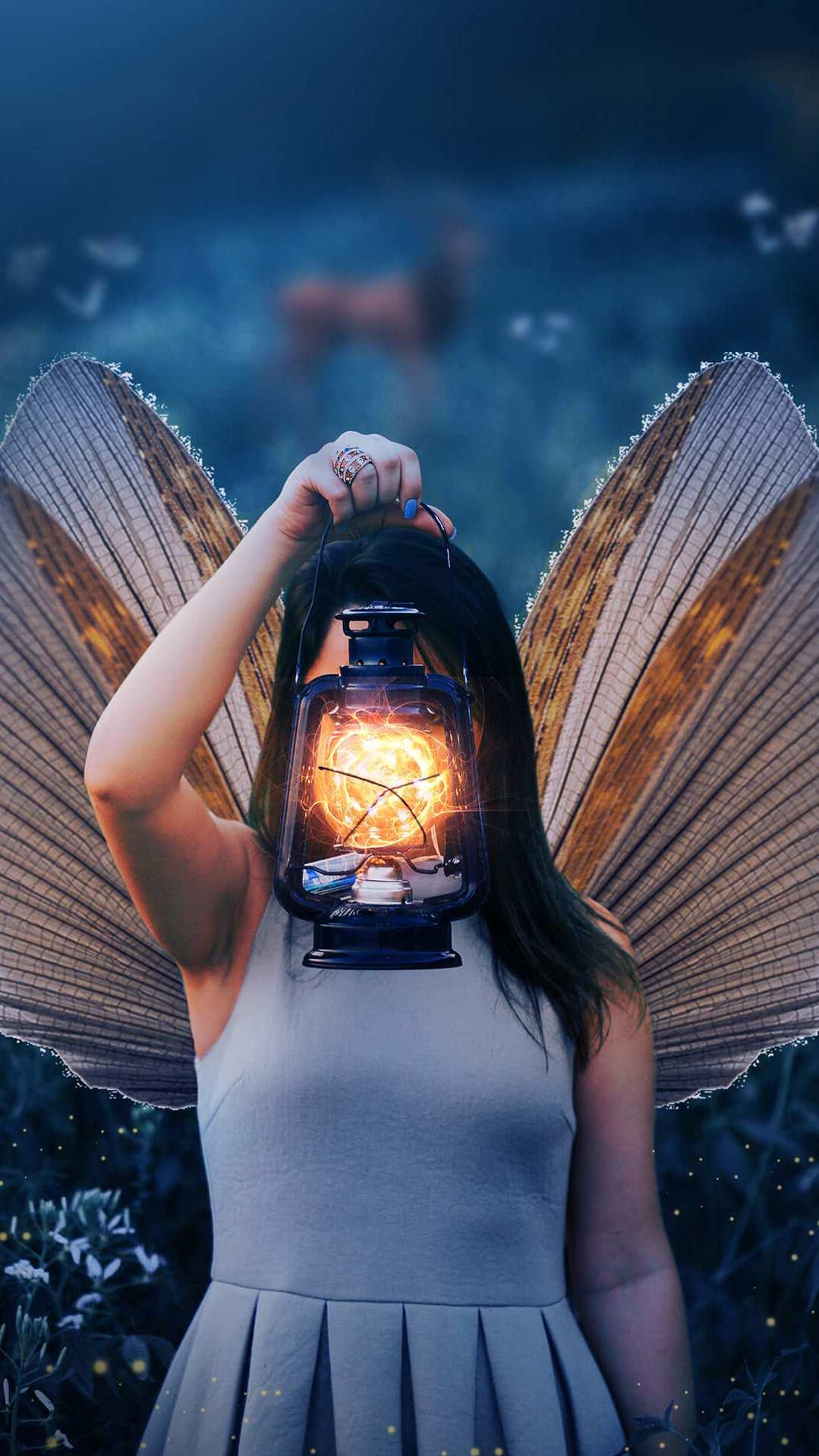 Butterfly Girl iPhone Wallpaper