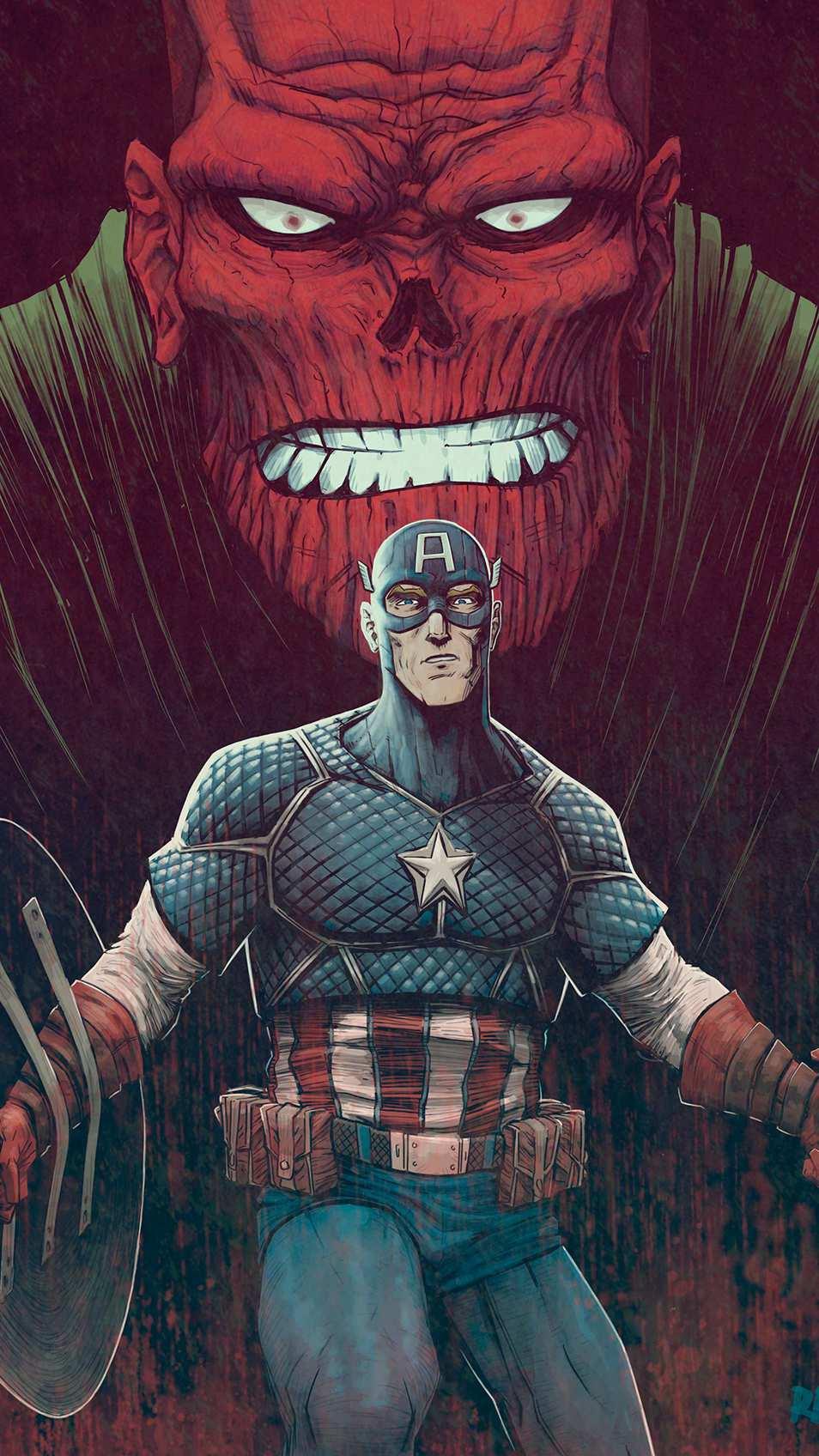 Captain America vs Red Skull iPhone Wallpaper