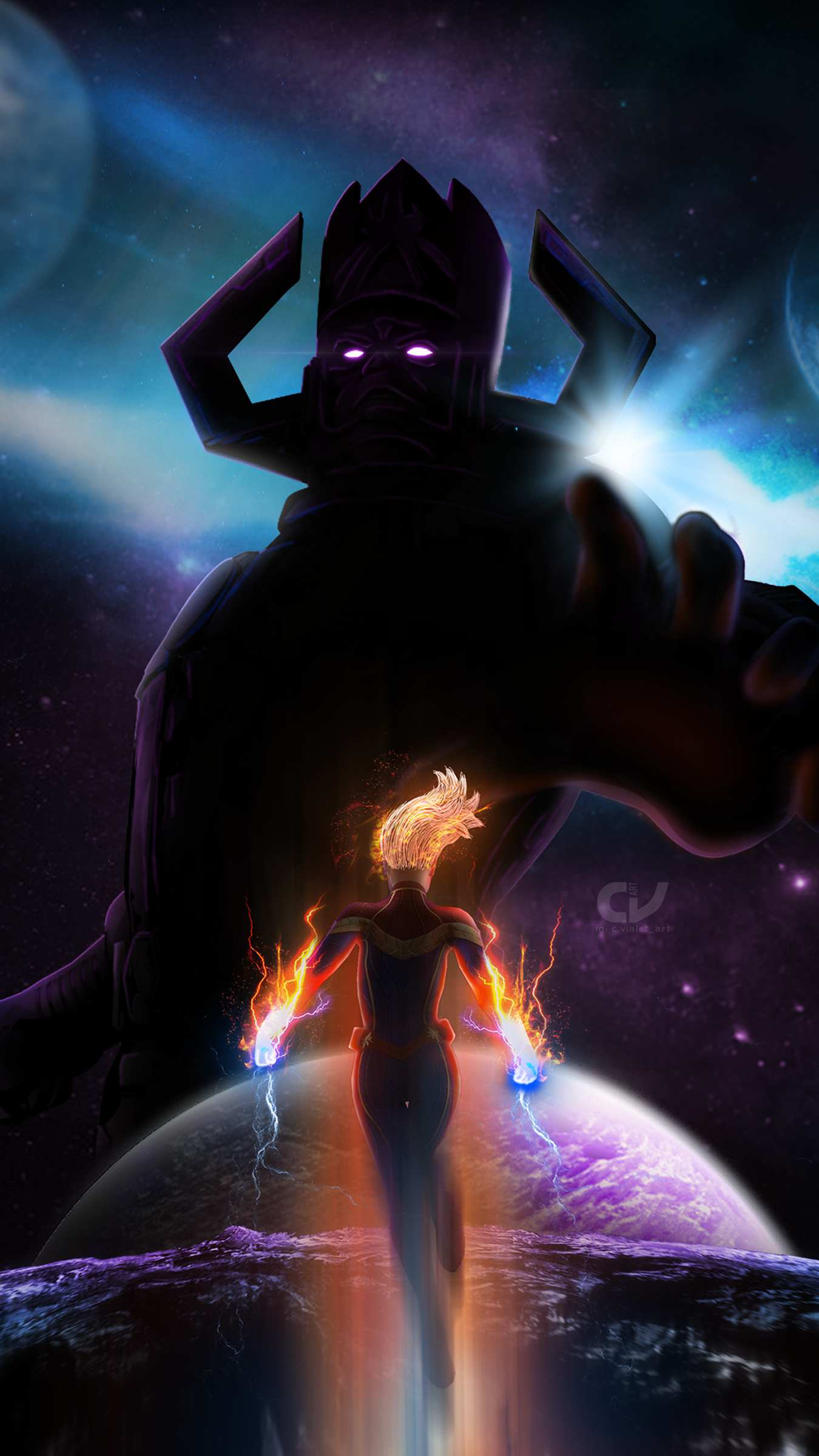 captain marvel vs galactus iphone wallpaper iphone