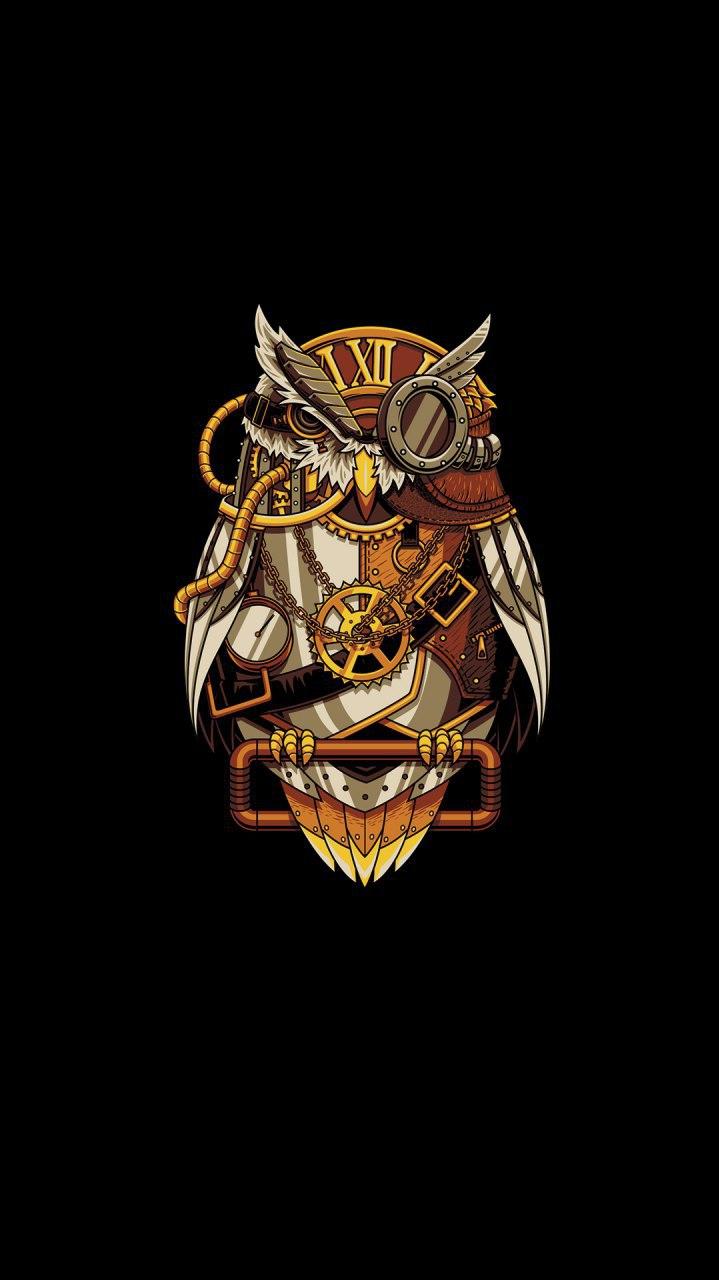Clock Owl iPhone Wallpaper