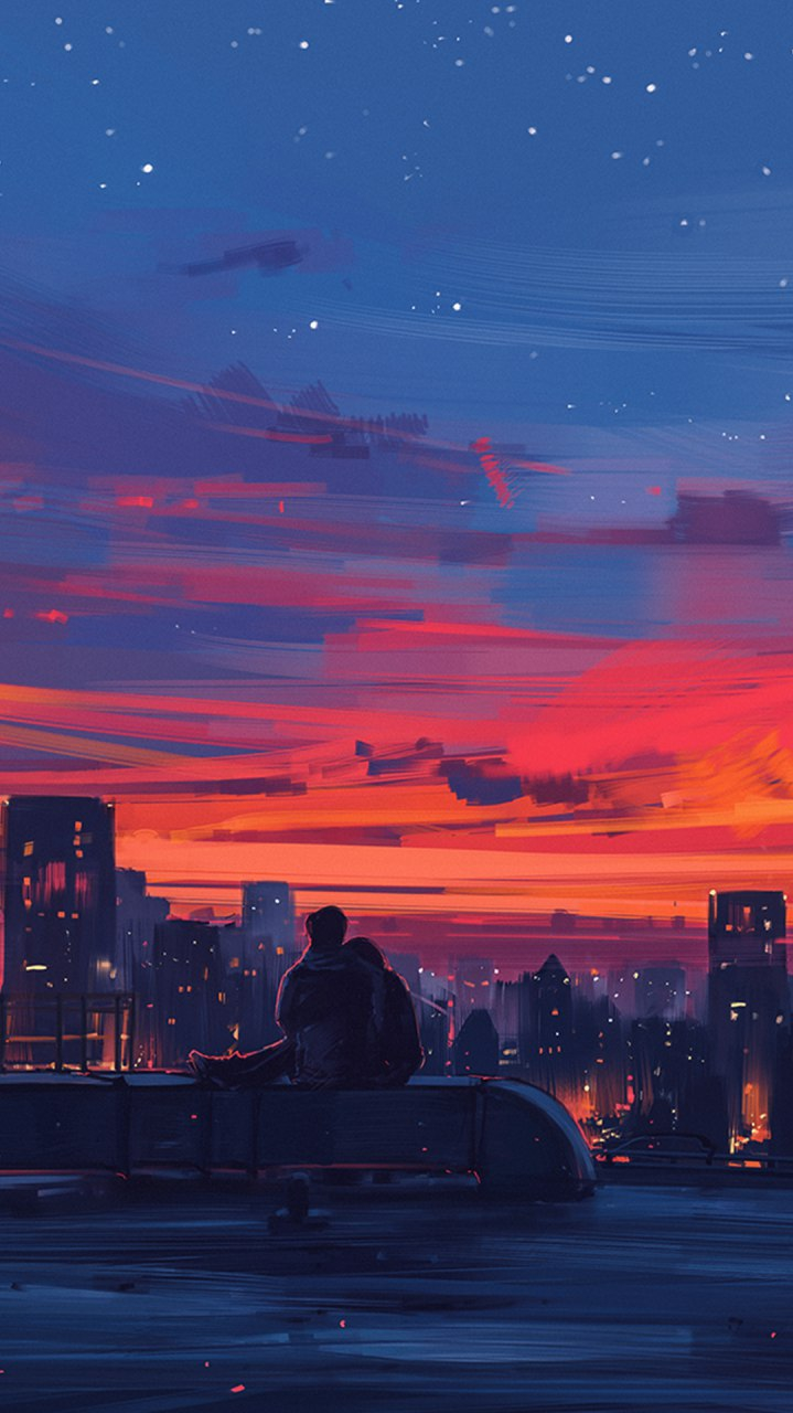 Couple Sunset Love iPhone Wallpaper