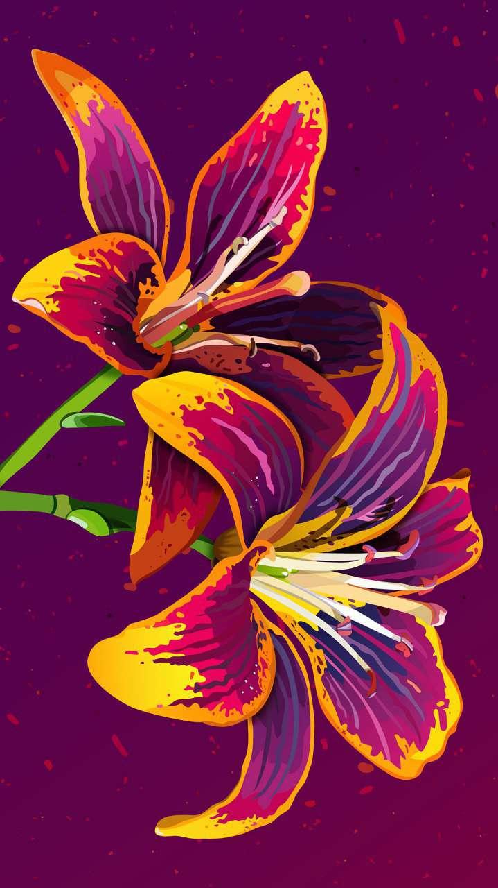 Flower Art iPhone Wallpaper