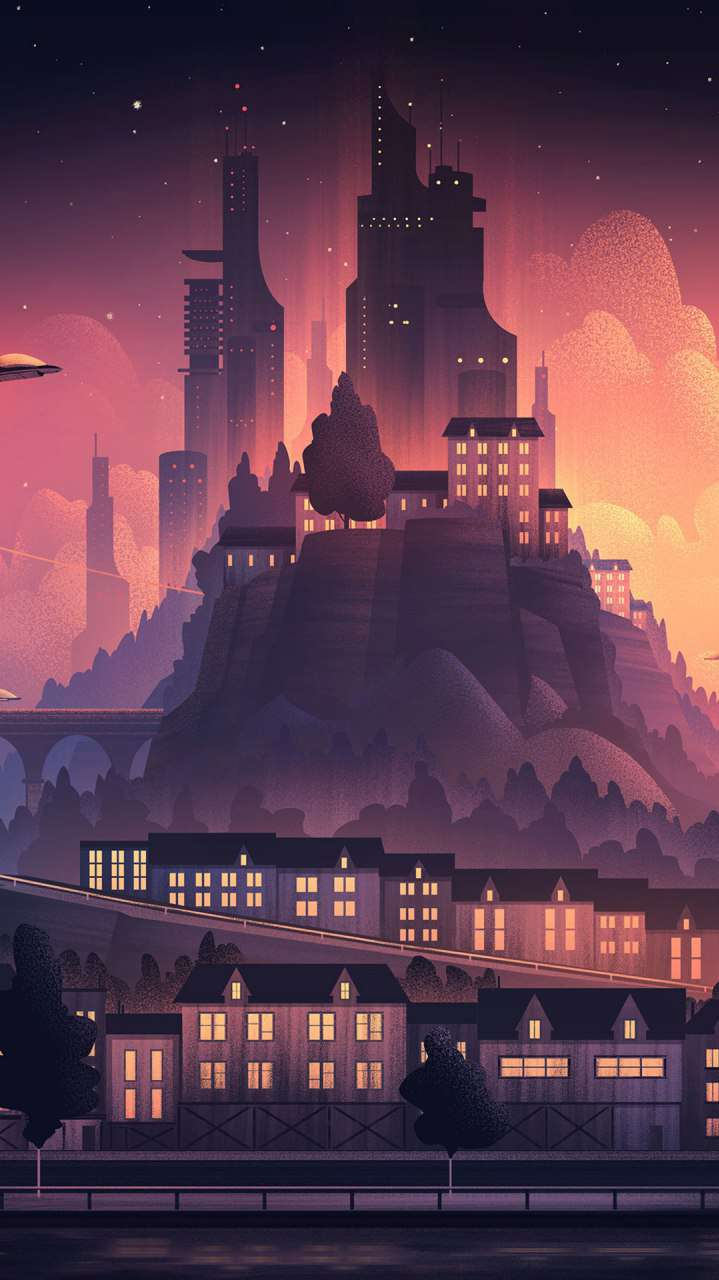 Future City Art iPhone Wallpaper