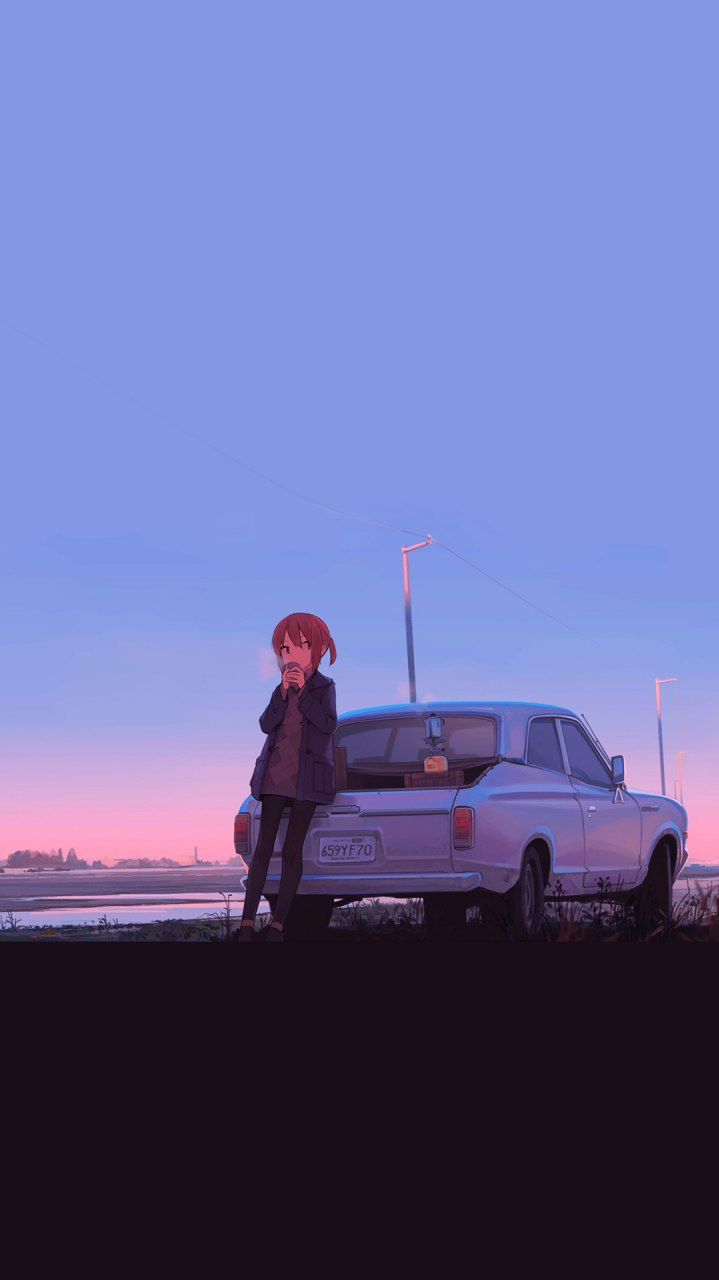 Girl with Car Anime iPhone Wallpaper