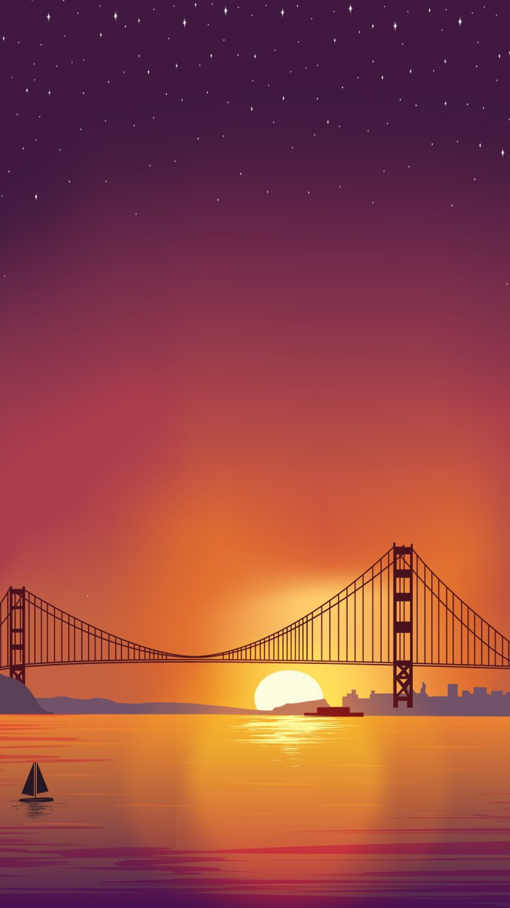 Golden Gate Bridge Minimal Art iPhone Wallpaper