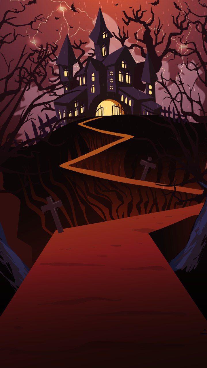 Halloween Hunted House iPhone Wallpaper