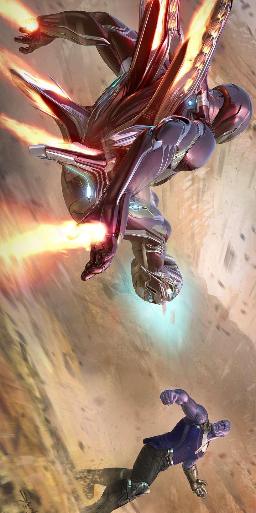 Iron Man Fighting Thanos iPhone Wallpaper