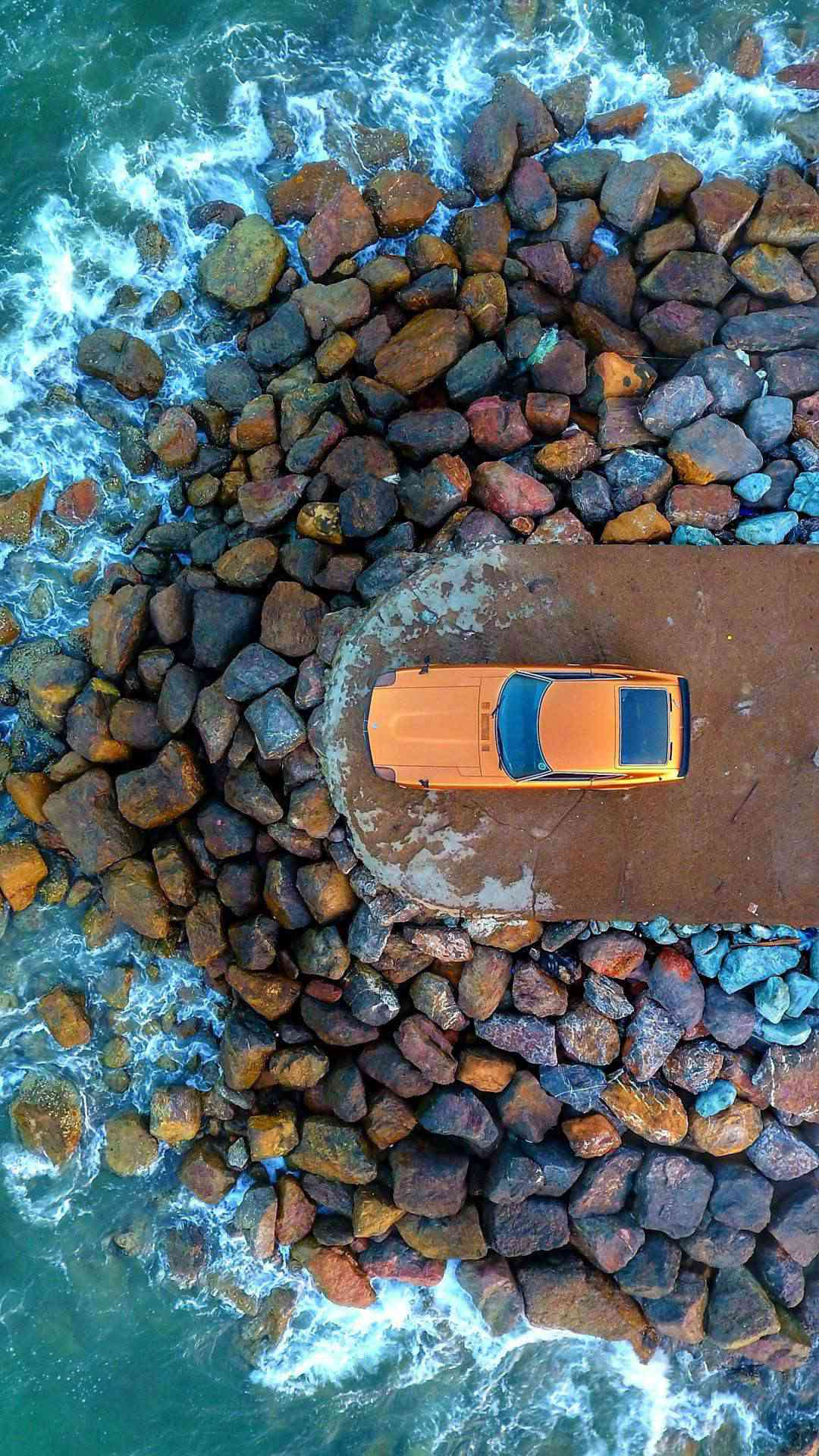 Lamborghini On Beach Aerial View iPhone Wallpaper