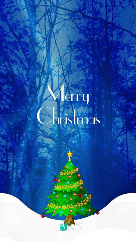 Merry Christmas Snow Tree iPhone Wallpaper