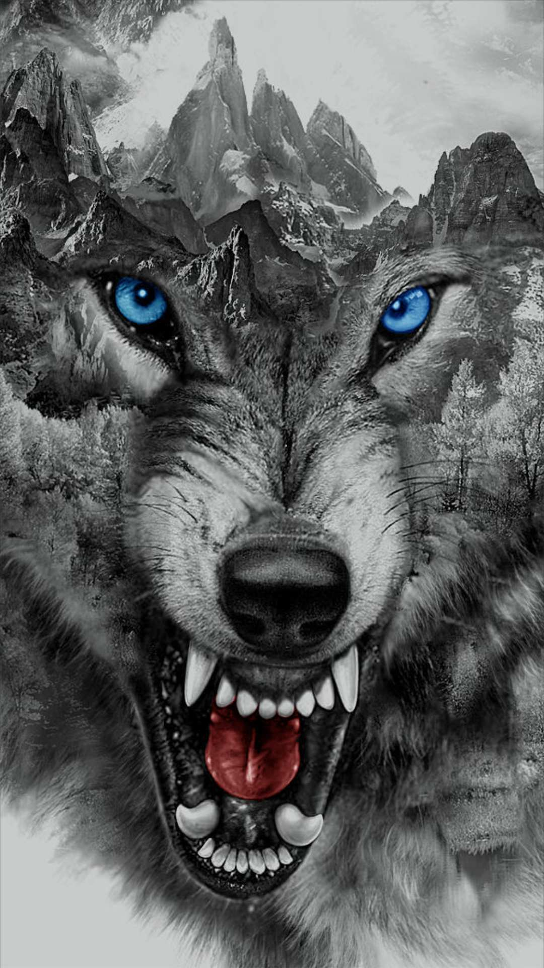 Mountain wolf iPhone Wallpaper