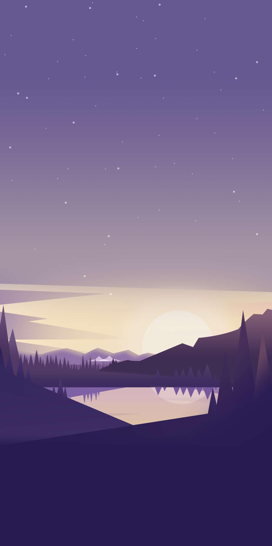 Nature Lake Mountains Minimal iPhone Wallpaper