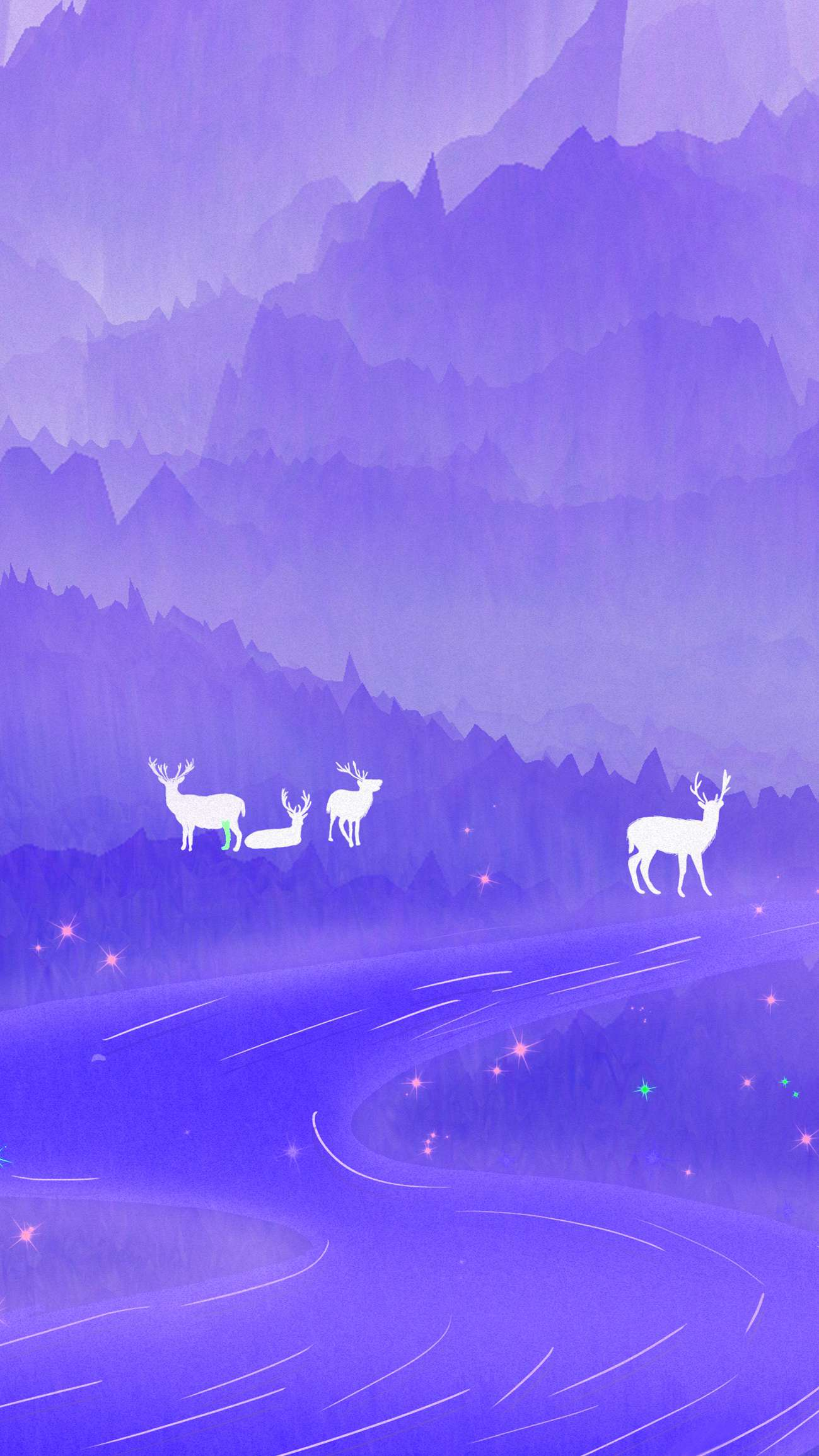 Purple Forest Are Deers iPhone Wallpaper