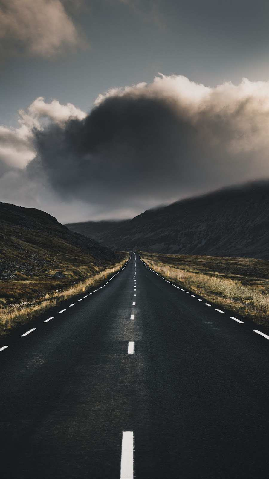 Road Iceland Nature Clouds iPhone Wallpaper