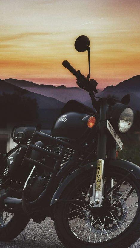 Royal Enfield Black Bike iPhone Wallpaper