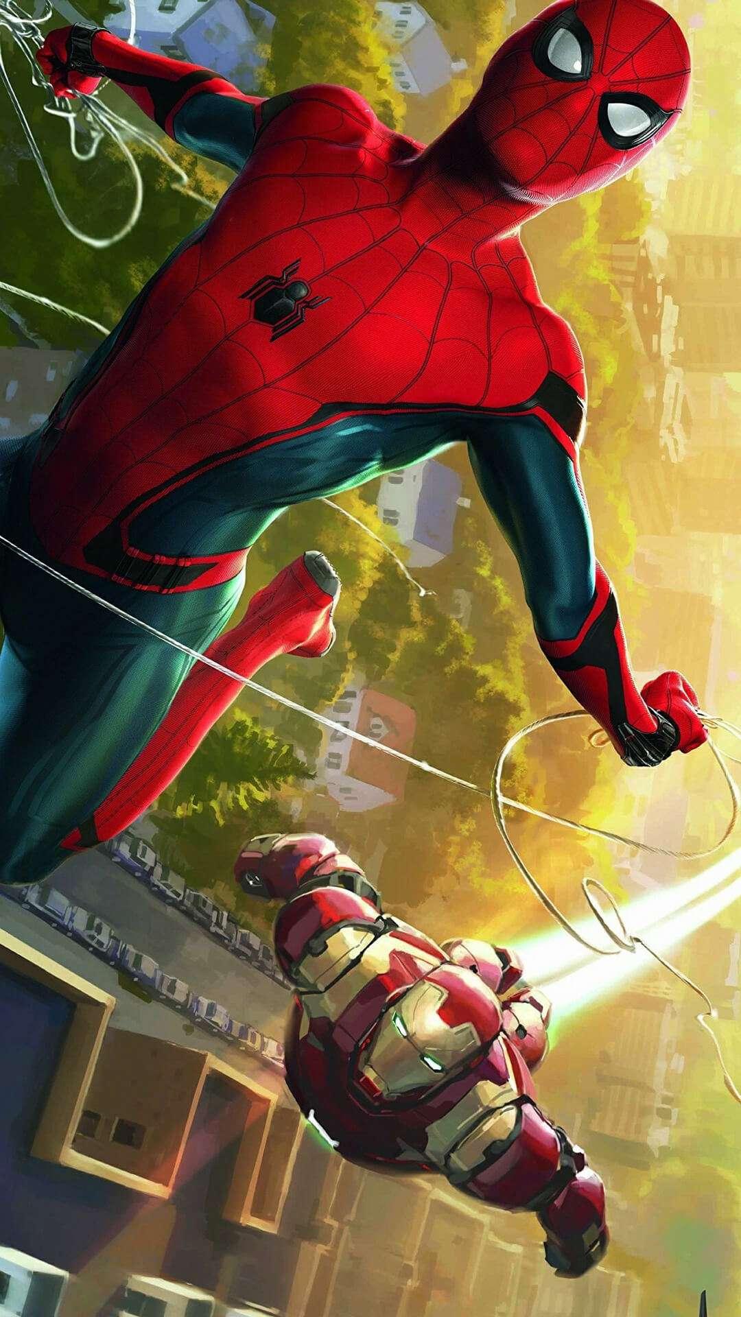 Spiderman iron man iphone wallpaper iphone wallpapers - Iron man spiderman wallpaper ...