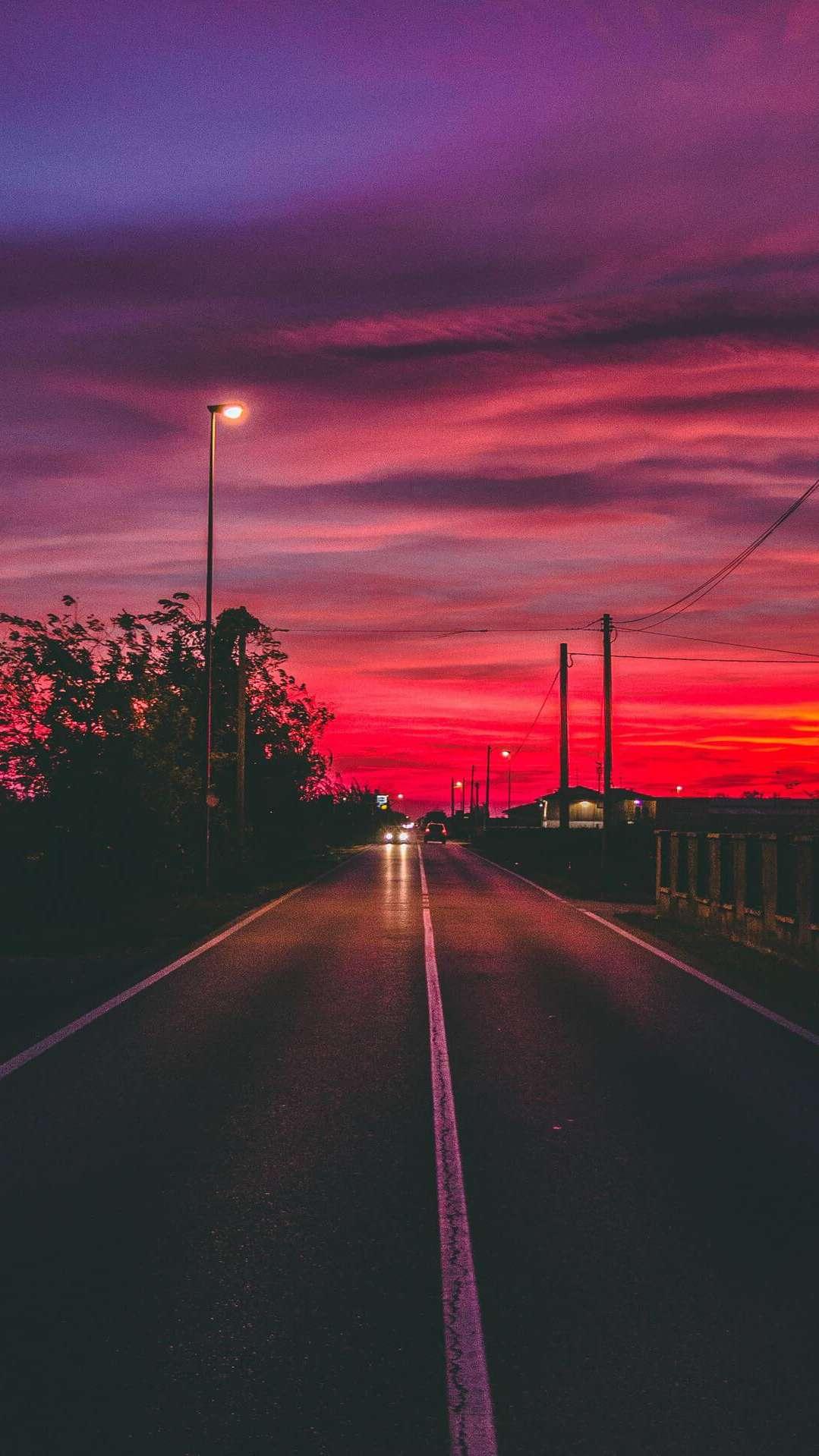 Sunset Roadway iPhone Wallpaper