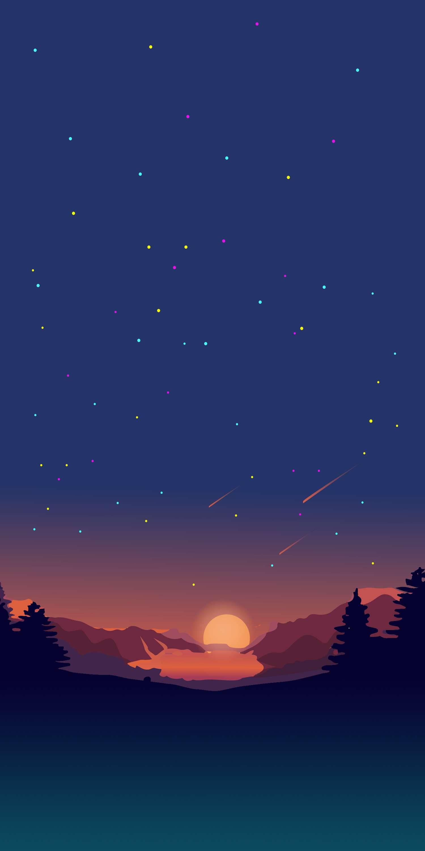 Sunset View Stars Minimal Nature iPhone Wallpaper