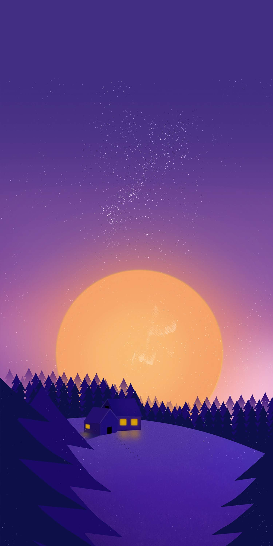 Winter Sunset Snow Minimal iPhone Wallpaper