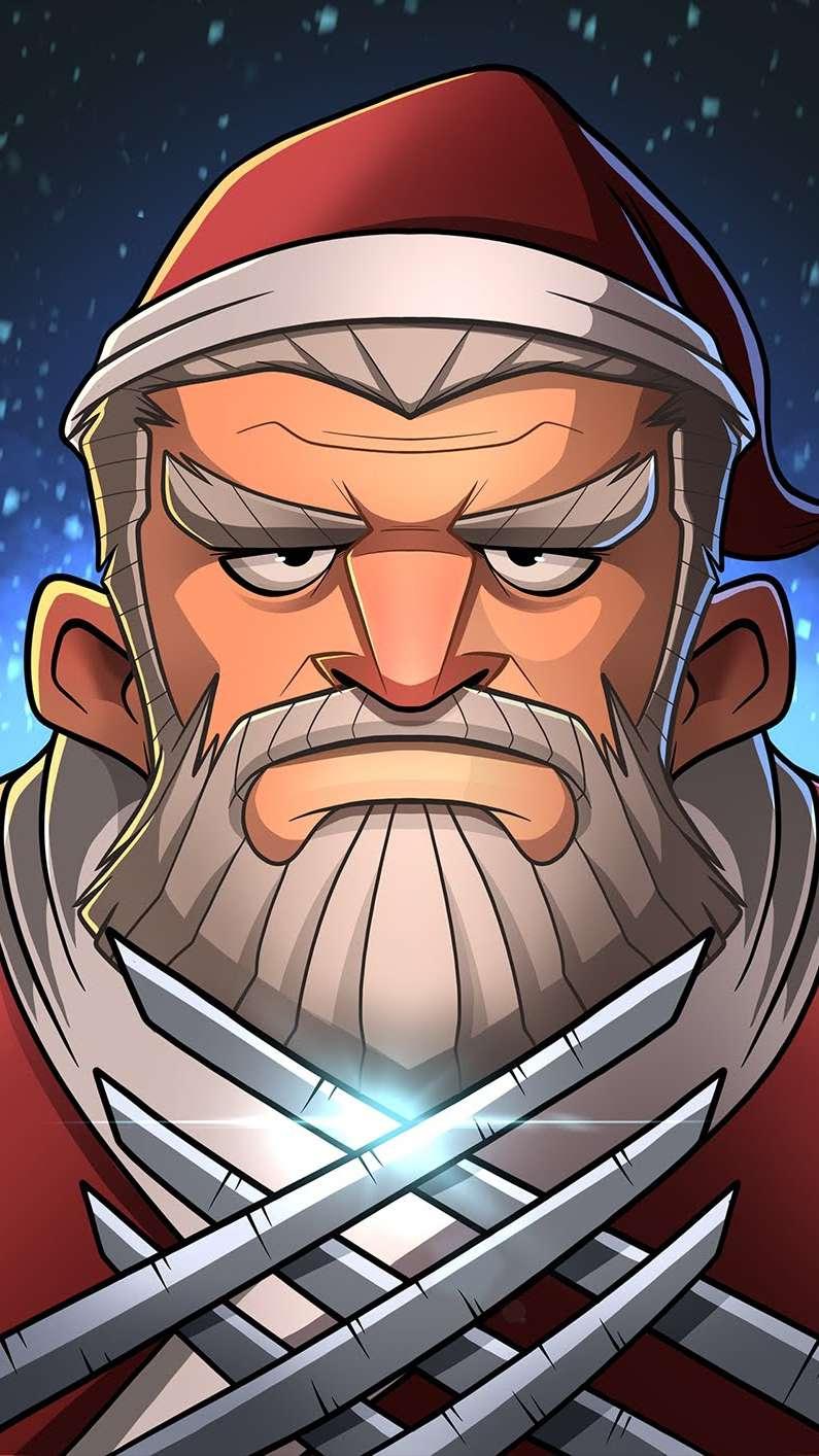 Wolverine Santa iPhone Wallpaper