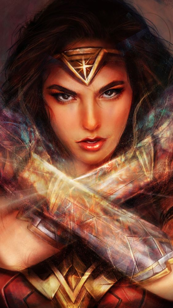 Wonder Woman Art Face iPhone Wallpaper